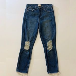L'AGENCE High Rise Distressed Crop Jeans